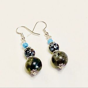Black Labradorite Earrings With a Touch of Blue